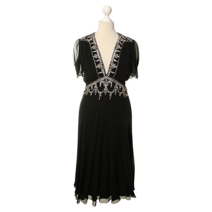 Temperley London Dress in black with semi-precious stones