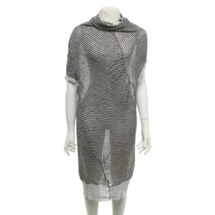 Humanoid Gestreepte jurk in donkerbruin / grijs