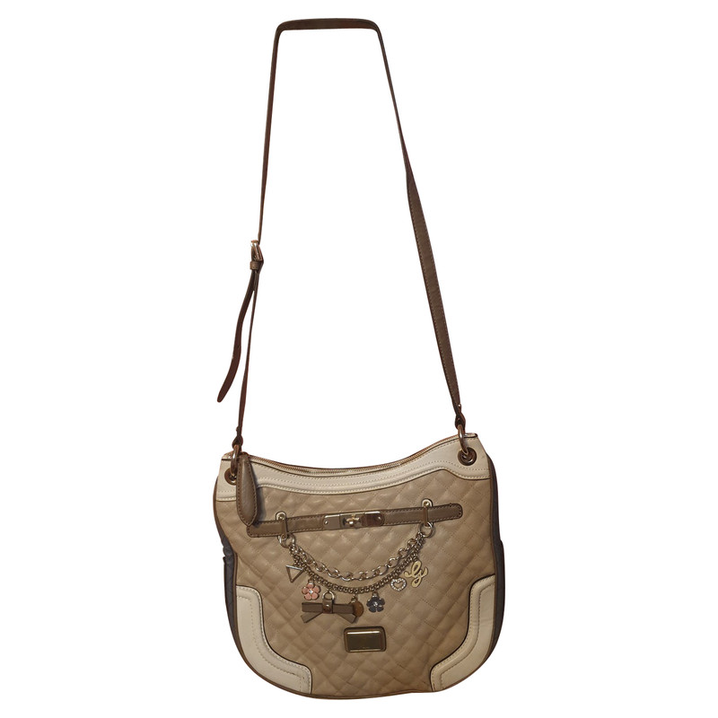 Guess Handtasche aus Canvas in Beige Second Hand Guess