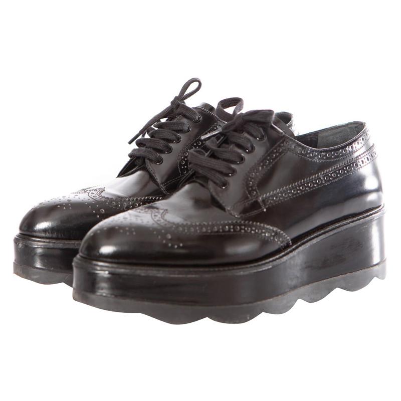 Prada Semelle Avec À Lacets Chaussures Compensée Acheter TTxaSqgPw