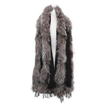 Other Designer Cashmere stole with fur trim