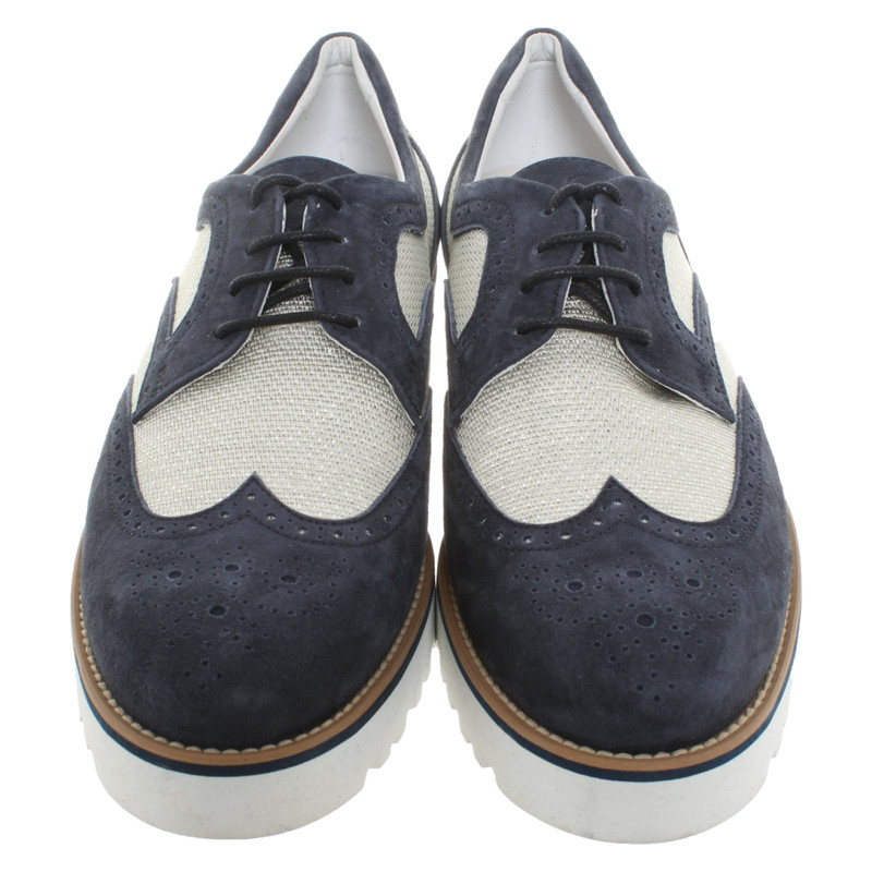 Hogan Lace up shoes Leather in Blue Second Hand Hogan Lace