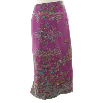 Etro Wool skirt with purple pattern