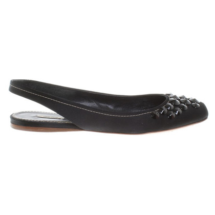 Miu Miu Satin Slipper in Black