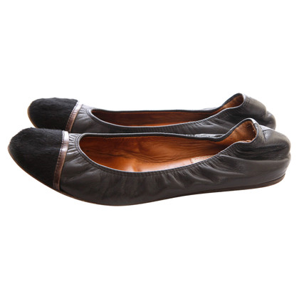Lanvin Leather ballerinas with pony fur trim