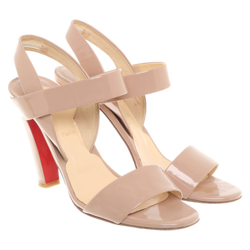 3fa04a65f7 Christian Louboutin Sandals Patent leather in Nude - Second Hand ...