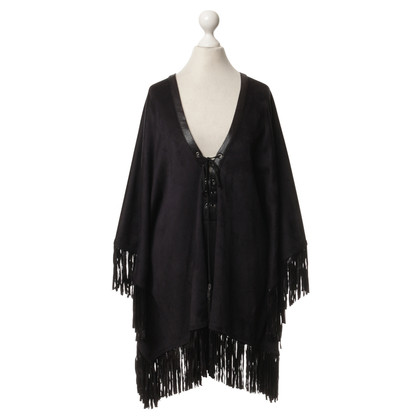 Hale Bob Black poncho with tassels