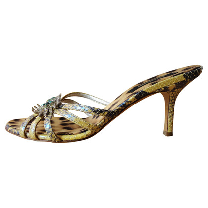 Roberto Cavalli Mules made of python leather