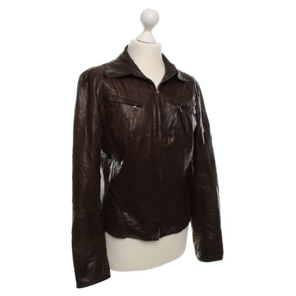 Marc Cain Leather Jacket in Bruin