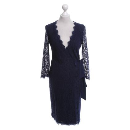 """Diane von Furstenberg Blauwe kanten jurk """"Julianna"""""""
