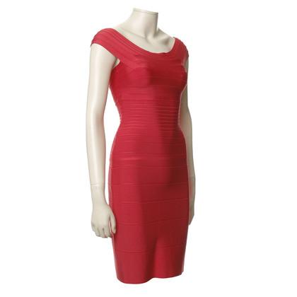 Herve Leger Getextureerde jurk in het rood