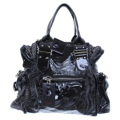 Chloé Lackleder-Handtasche in Schwarz