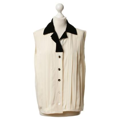 Chanel Zijden blouse met fluwelen kraag