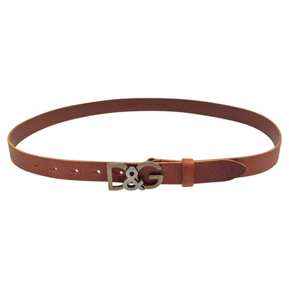 Dolce & Gabbana Grained leather brown belt