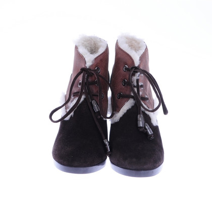 Hogan Brown fur ankle boots