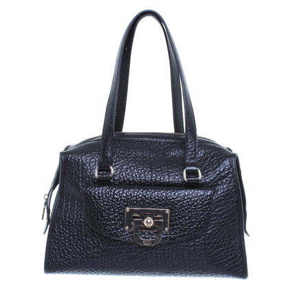 DKNY Handbag in black leather with champagne gold details