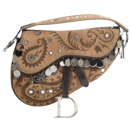 Christian Dior Bruine suede Saddle Bag met munten