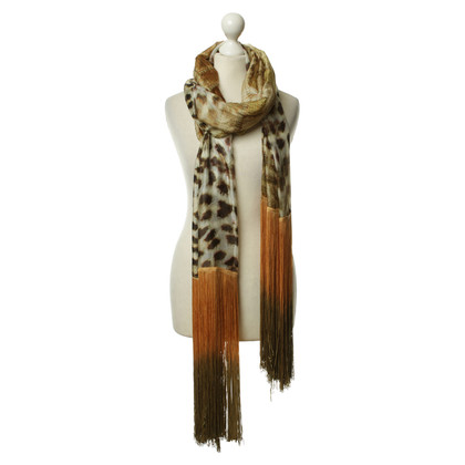 Roberto Cavalli Leopard print fringe scarf