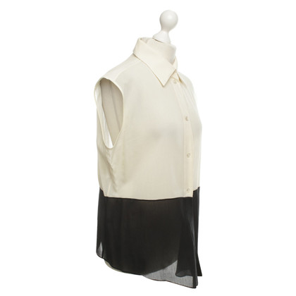 Hermès Sleeveless blouse in cream and black