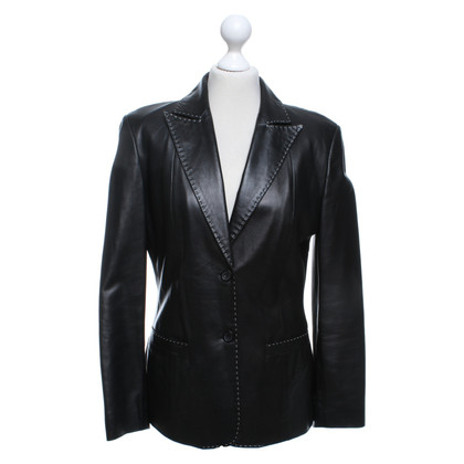 Cerruti 1881 Leather blazer in black