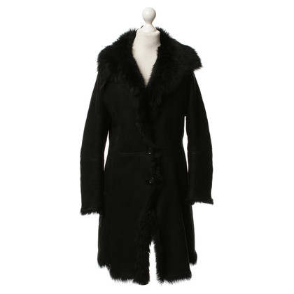 Fratelli Rossetti Leather coat in black