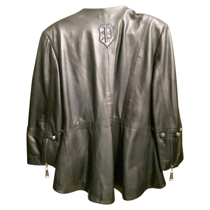 Philipp Plein Leather jacket with decorative buttons