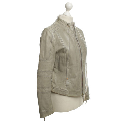 Hugo Boss Lederjacke in Olivgrün