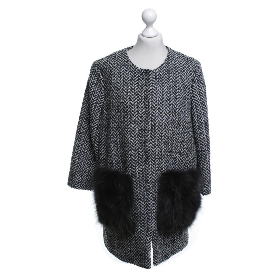 steffen schraut tweed mantel mit pelzbesatz second hand steffen schraut tweed mantel mit. Black Bedroom Furniture Sets. Home Design Ideas