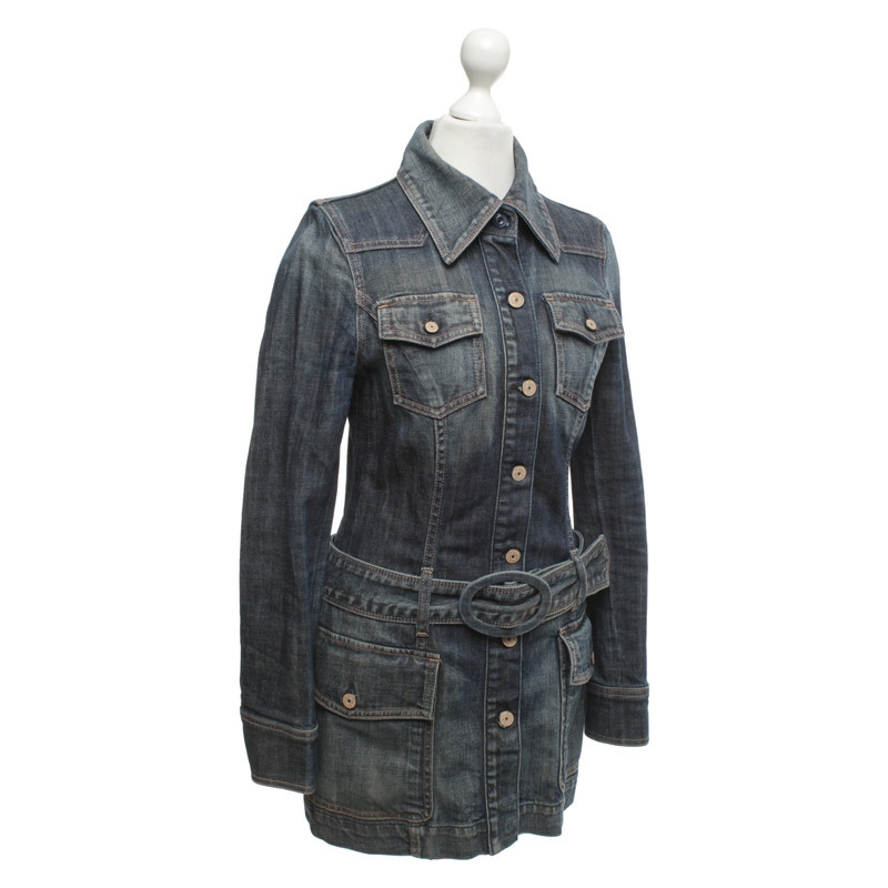 ... 7 For All Mankind Giacca lunga in denim con cintura