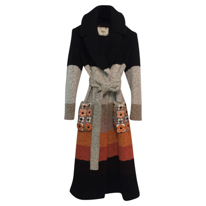 Fendi Striped appliqué coat 40 IT