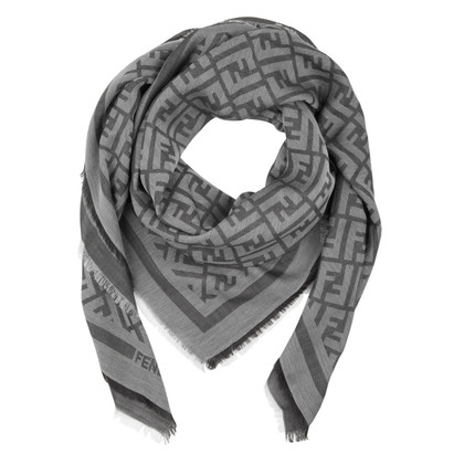 Fendi Label print in grey scarf