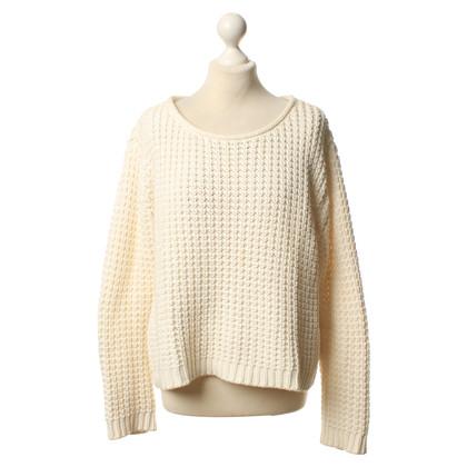 Acne Wit/crème gebreide pullover