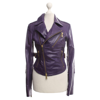 Philipp Plein Leather jacket in purple