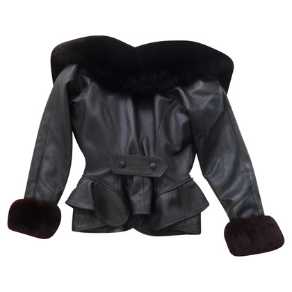 Jitrois Leather jacket with fur collar