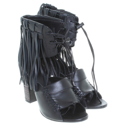 Diesel Black Gold Sandals with fringe