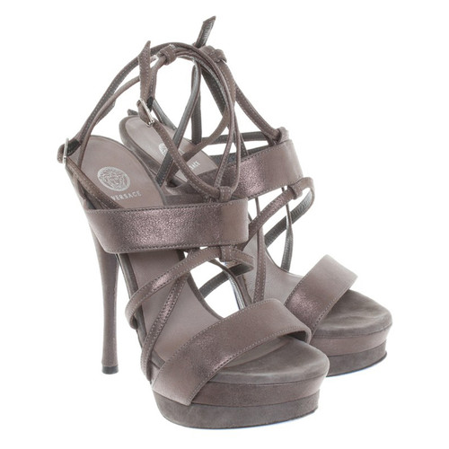 Versace High Heels In Grau Second Hand Versace High Heels In Grau
