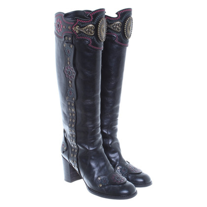 Anna Sui Black boots with flower embossing