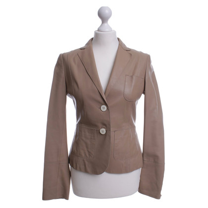 Hugo Boss Giacca in pelle con cuciture decorative in beige