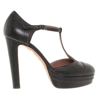 L'autre Chose Leather platform pumps