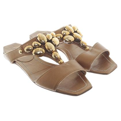 Miu Miu Bronzefarbene Sandalen