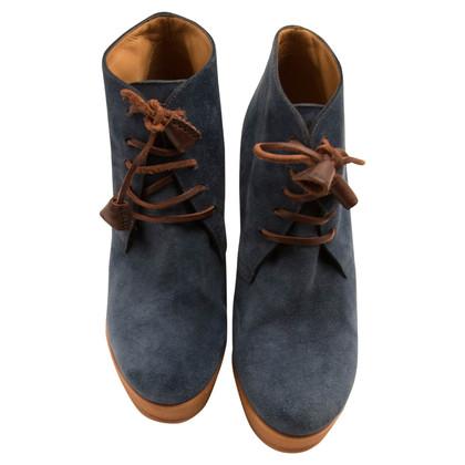 Dsquared2 Blauwe suede kant-up wig enkel laarzen