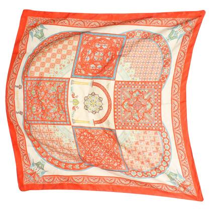 Hermès sciarpa di seta nei toni del rosso