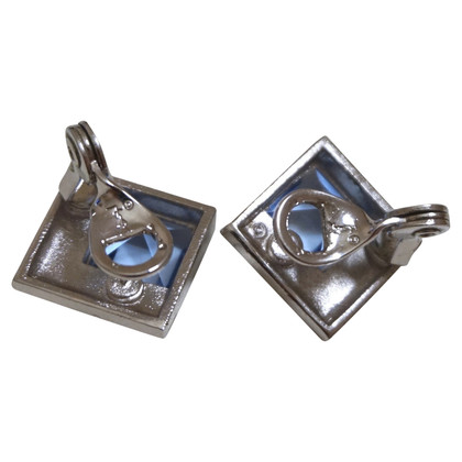 Yves Saint Laurent Silver colored ear clips with stone