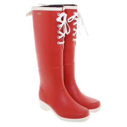 Aigle Rode rubberen laarzen