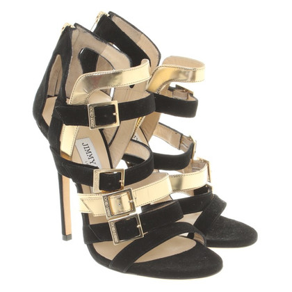 Jimmy Choo Sandals in Gold / zwart