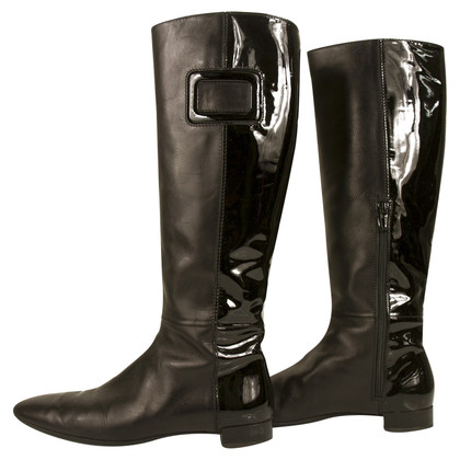 Roger Vivier Black Leather knee height boots