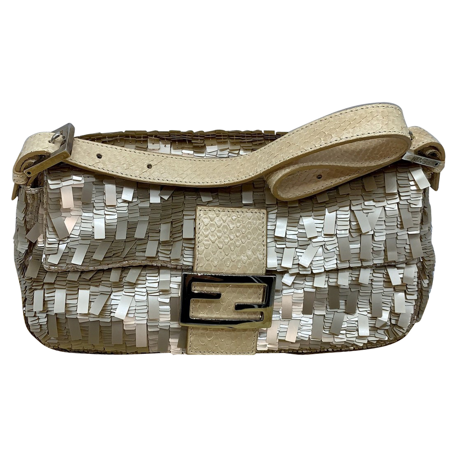 Fendi Baguette Bag in Nude Second Hand Fendi Baguette Bag