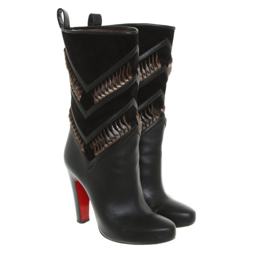 reputable site 85cf4 fee55 Christian Louboutin Boots Leather in Black - Second Hand ...