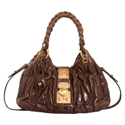 Miu Miu Matelassé Cognac Bag