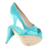 Bally Peeptoes in turquoise